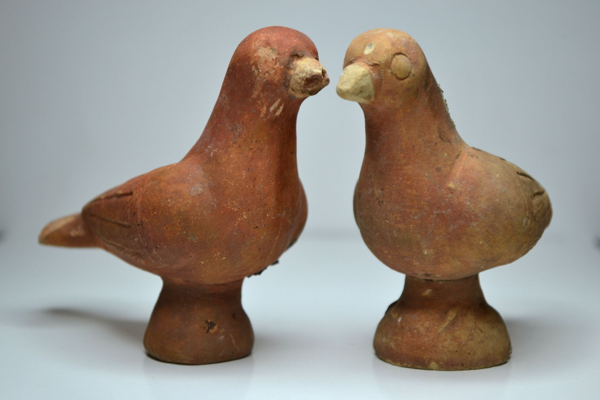 pigeons figurines en terre cuite