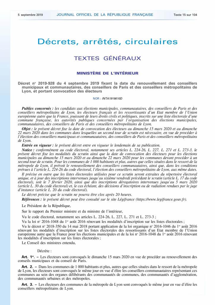 Decret 2019-928 04 09 2019 date renouvellement conseillers municipaux communautaires.jpg