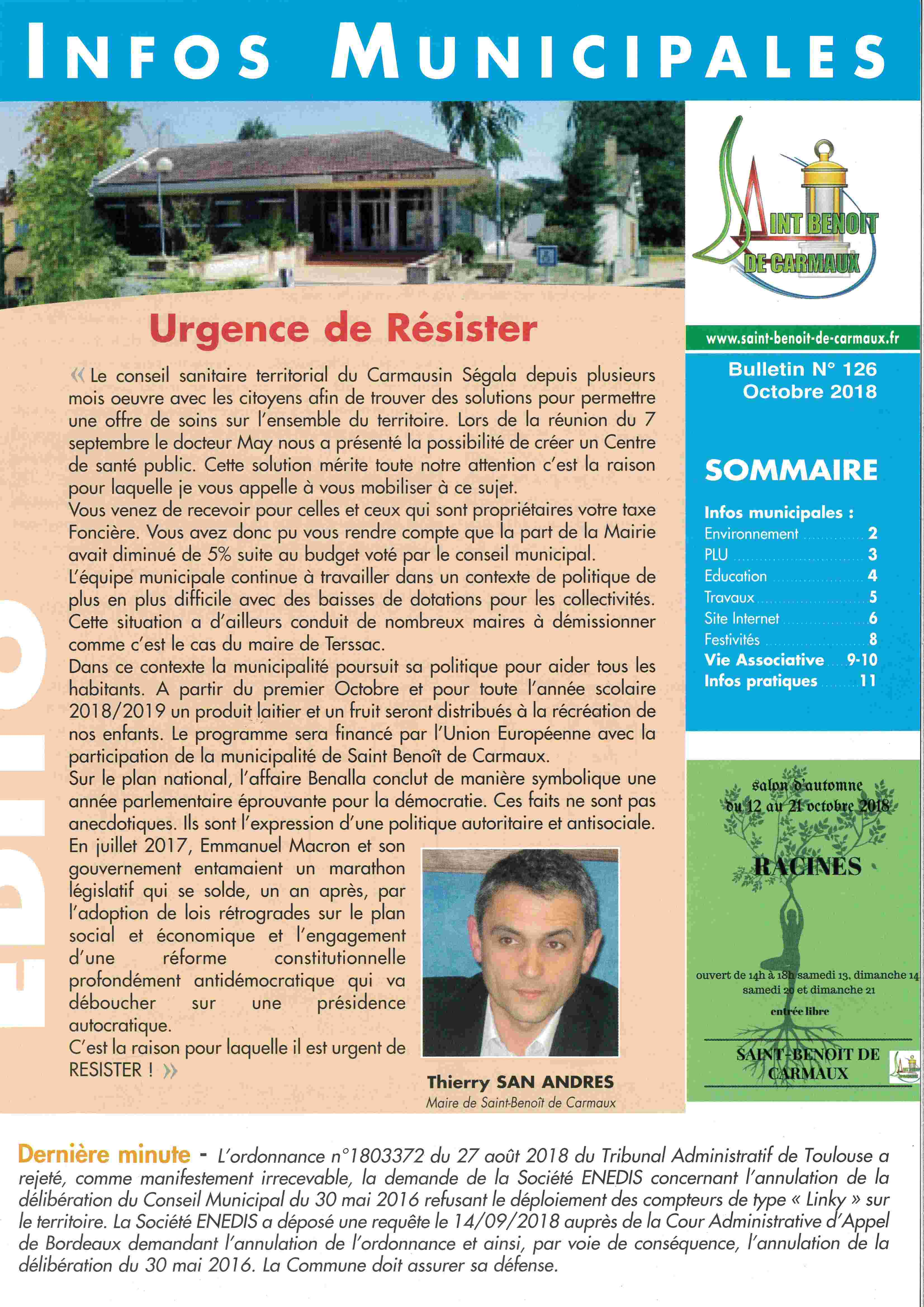 Bulletin Municipal  n°126 d'Octobre 2018