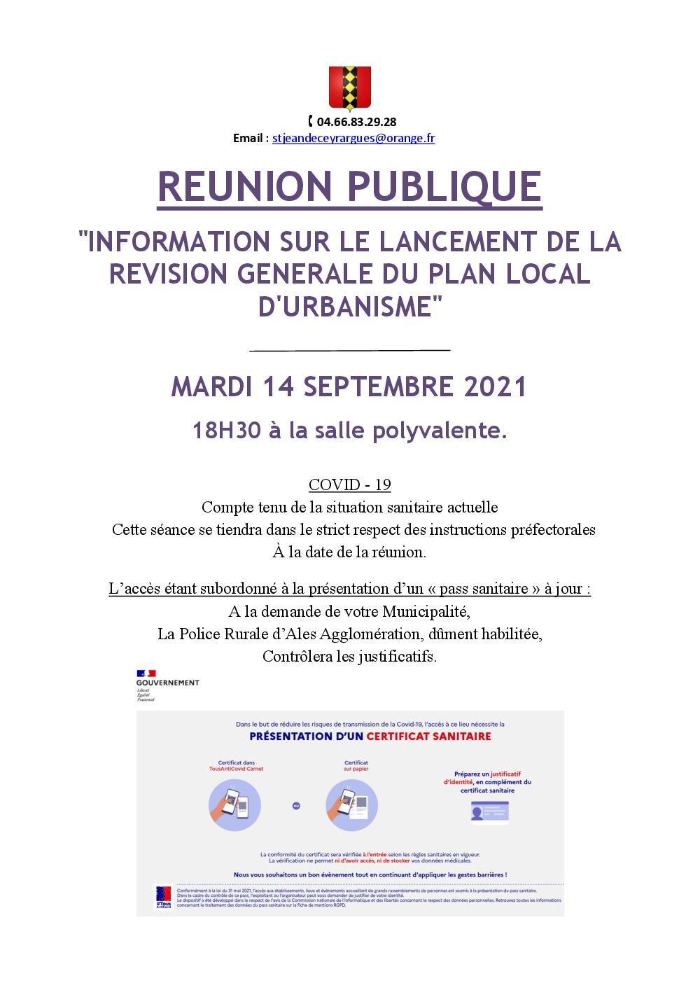 Convocation reunion publique 14 septembre 1