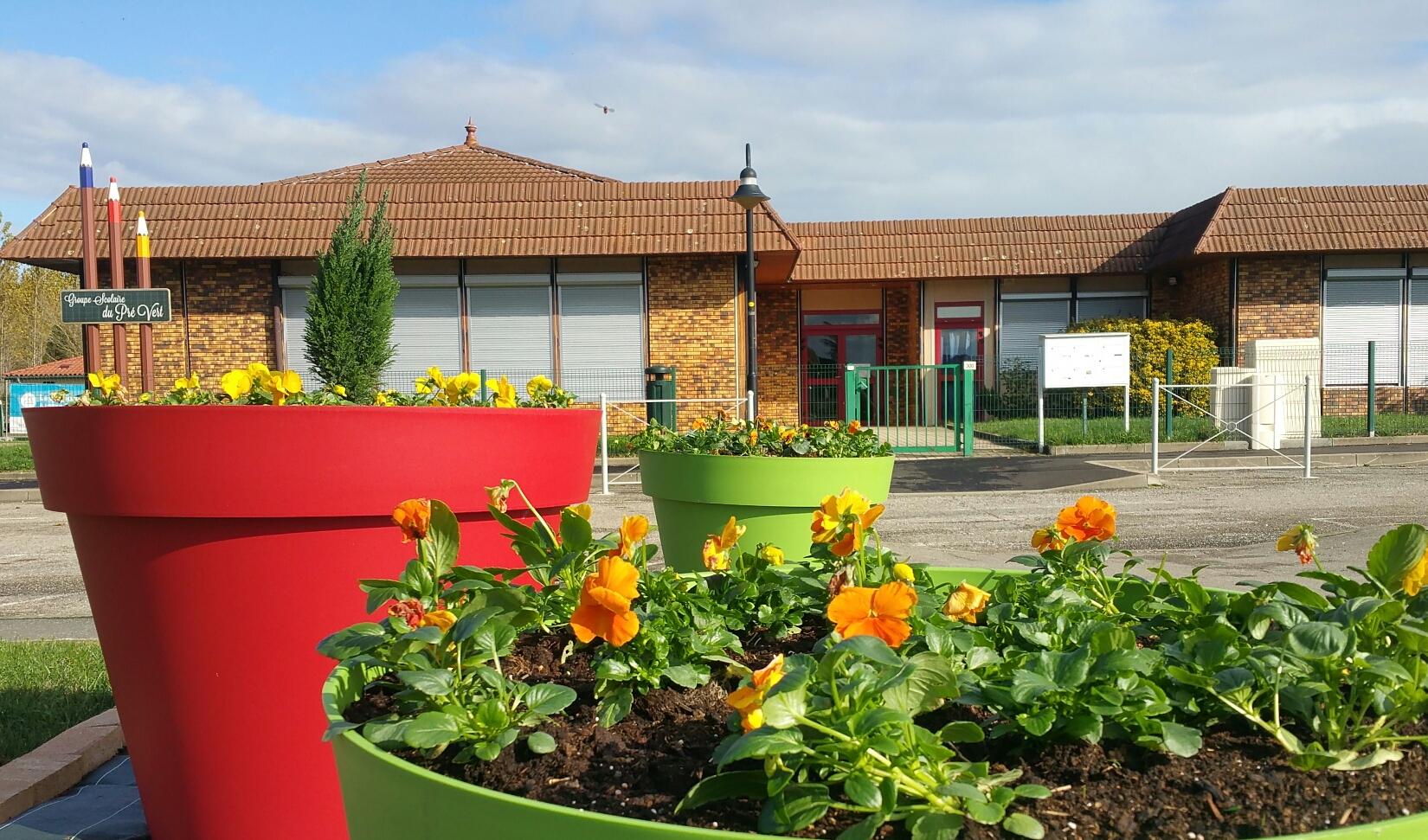 Ecole pot de fleurs de face