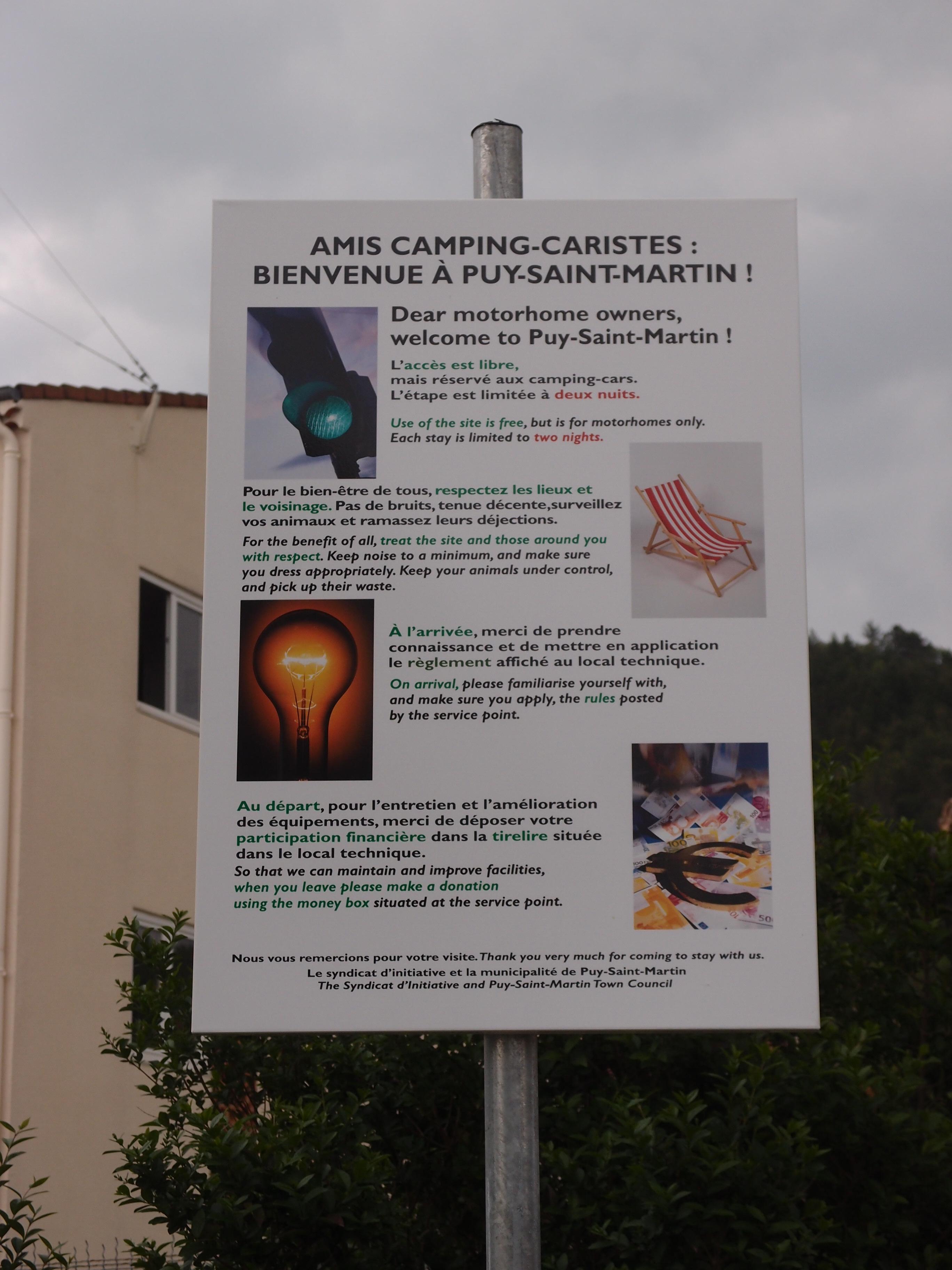 Panneau Bienvenue campings car