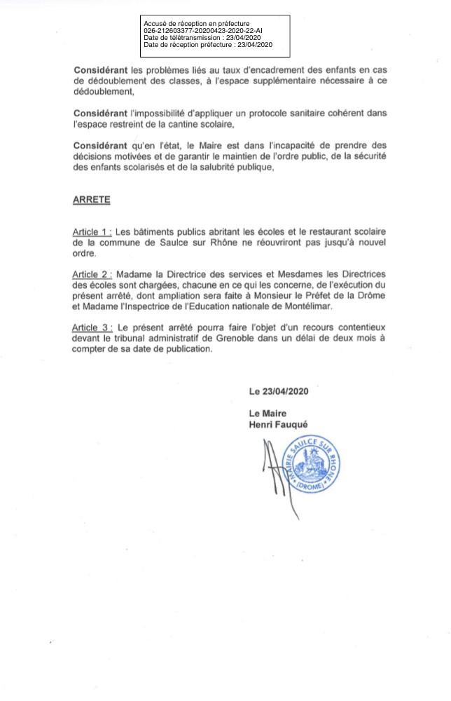 Arreté du Maire 11 mai 2