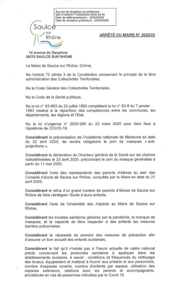 Arreté du Maire 11 mai