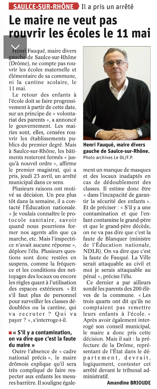Article Dauphiné Ecoles 11 Mai Virus