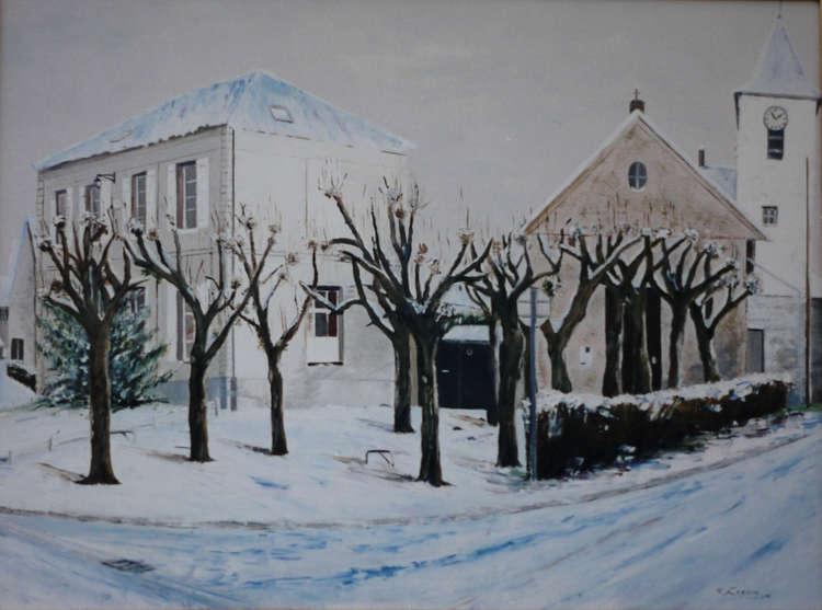 Place de la mairie sous la neige