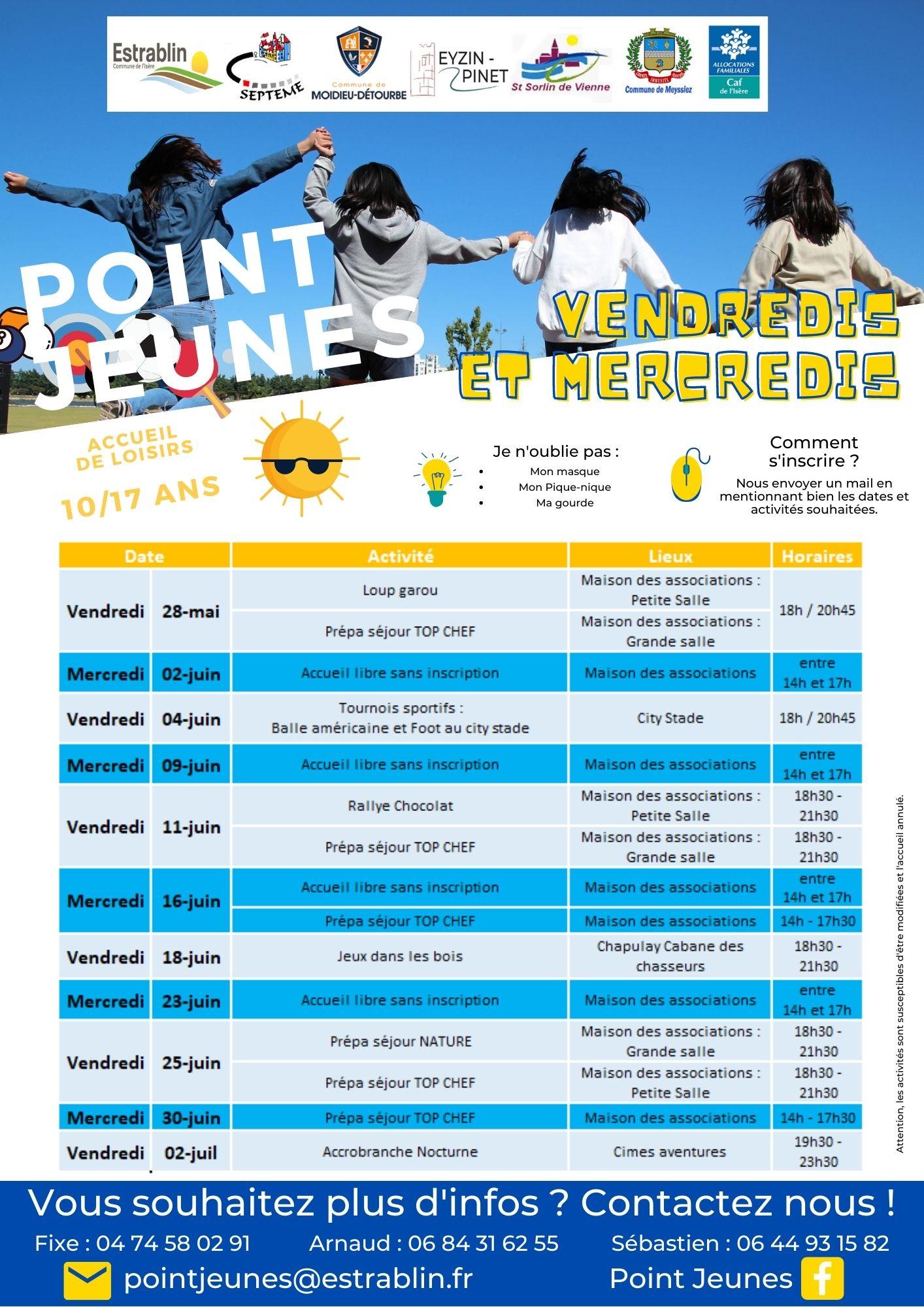 2021-05-22 Programme Mercredis/Vendredis JUIN 2021 - Pt Jeunes
