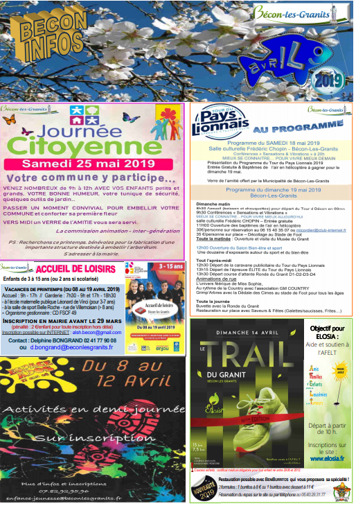 Couverture feuille infos avril 2019