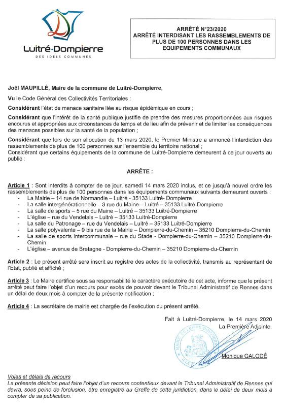 Arrêté 23 2020 INTERDICTION RASSEMBLEMENTS _100 PERS.PNG