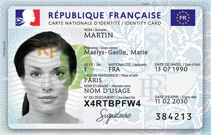 Carte identité (nouveau format) - Recto