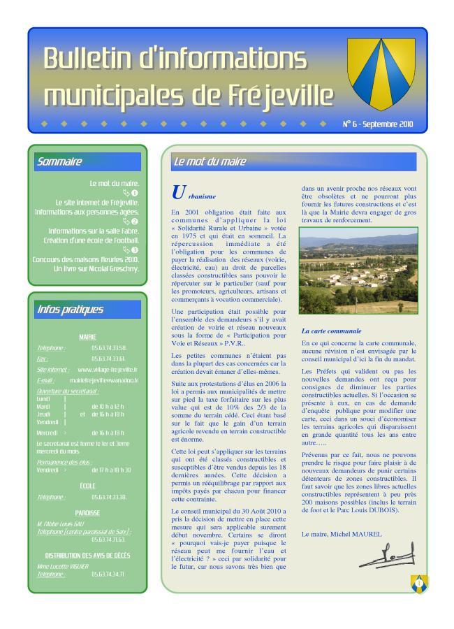 Bulletin municipal de la mairie de Fréjeville - N°6 (A3) - Septembre 2010