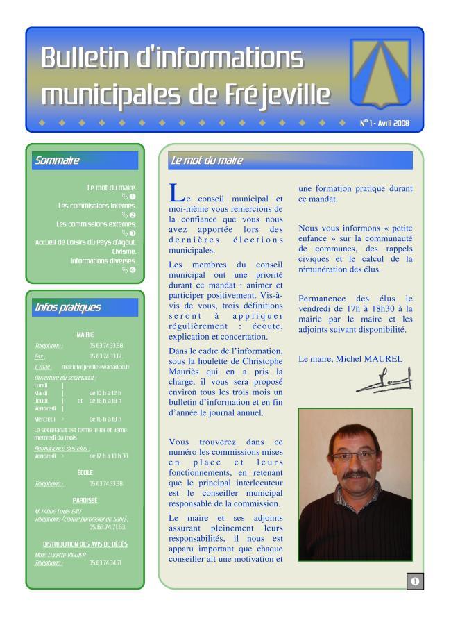 Bulletin municipal de la mairie de Fréjeville - N°1 (A3) - Avril 2008