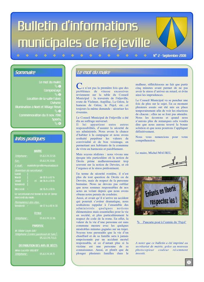 Bulletin municipal de la mairie de Fréjeville - N°2 (A3) - Septembre 2008