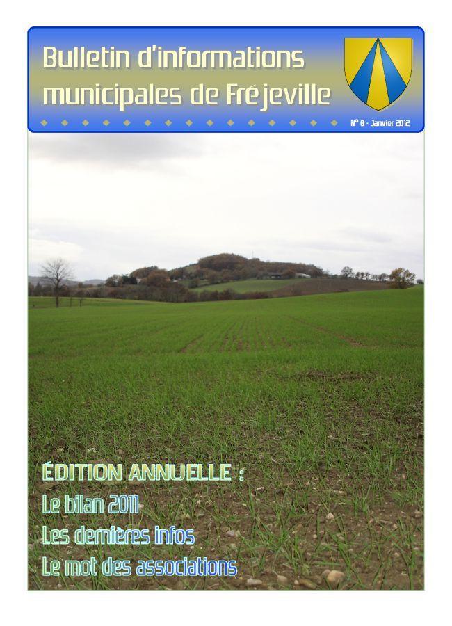 Bulletin municipal de la mairie de Fréjeville - N°8 (A4) - Janvier 2012