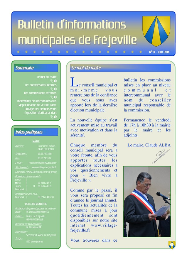 Bulletin municipal de la mairie de Fréjeville - N°11 (A3) - Juin 2014