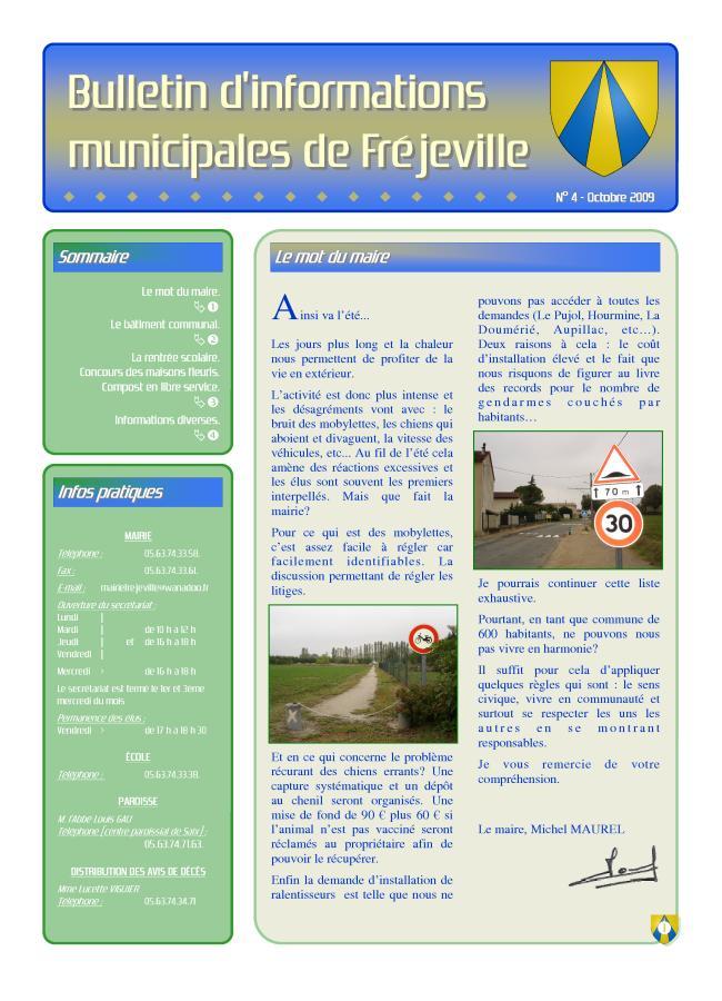 Bulletin municipal de la mairie de Fréjeville - N°4 (A3) - Octobre 2009