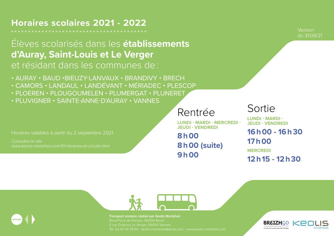 Horaires 2021 2022 etablissement Auray Saint Louis et Le Verger.png