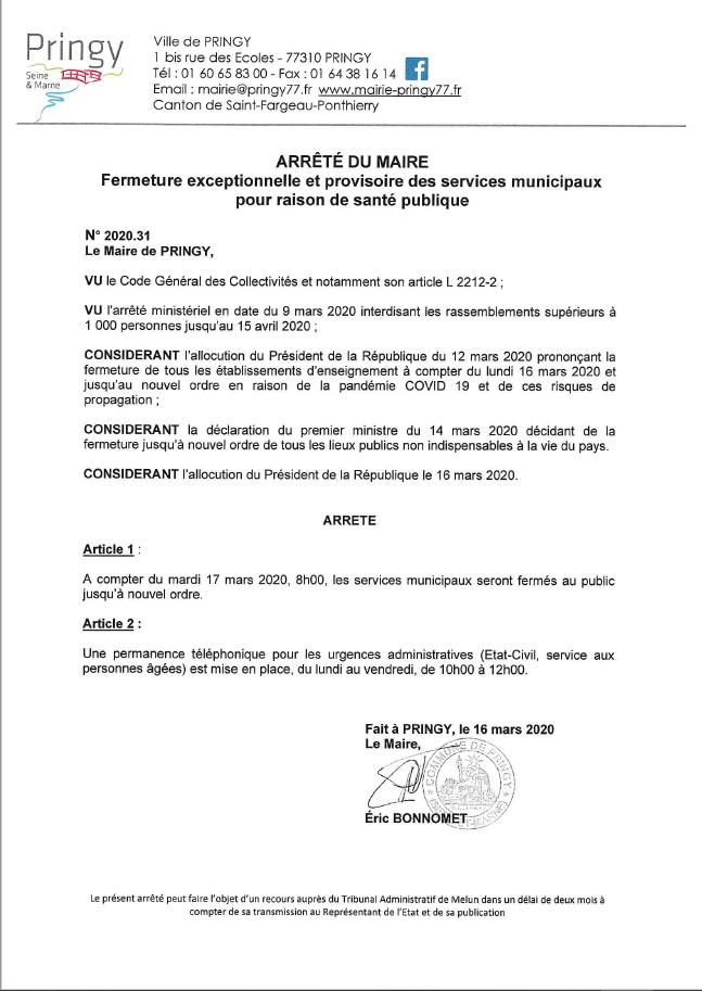 Arrêté fermeture exceptionnelle et provisoire des services municipaux pour raison de santé publique.PNG