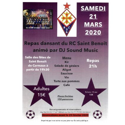 le Racing-Club de Saint-Benoît-de-Carmaux organise un repas dansant samedi 21 mars