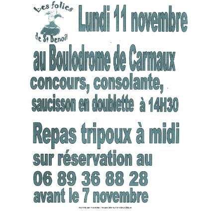 Grand concours de pétanque par Les Folies de Saint-Benoît à Carmaux
