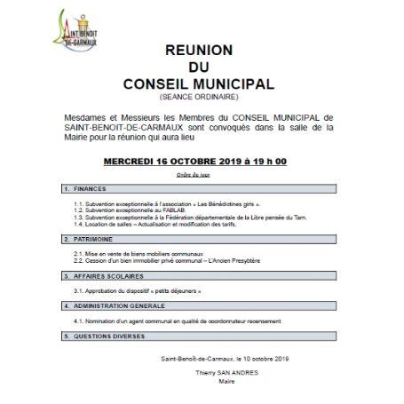 Conseil Municipal Mercredi 16 octobre 2019 à 19h00