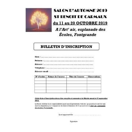 Inscription pour participer au SALON d'AUTOMNE 2019
