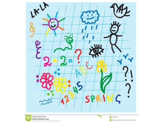 dessin-d-enfant-sur-le-papier-à-carreaux-de-carnet-d-école-ensemble-de-vecteur-90051399.jpg