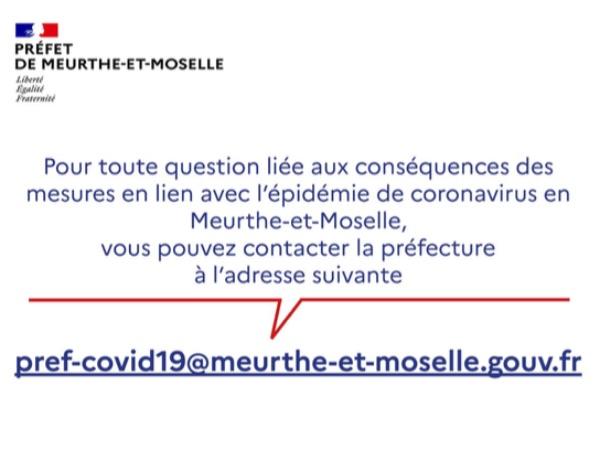 Questions liées au coronavirus et ses conséquences ? Rendez-vous sur le site de la préfecture 54