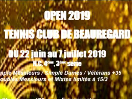 Les inscriptions pour l'OPEN 2019 du TC Beauregard sont ouvertes !!!