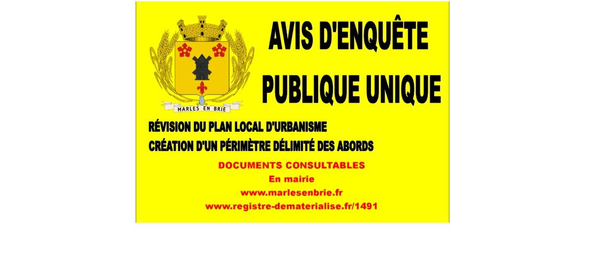 Avis d'enquête publique - documents consultables